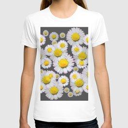 CHARCOAL GREY GARDEN OF SHASTA DAISY FLOWERS T-shirt