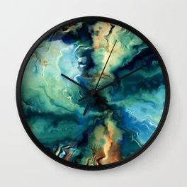 Marbled Ocean Abstract, Navy, Blue, Teal, Green Wall Clock