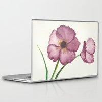 burgundy Laptop & iPad Skins featuring Burgundy Poppies by trabie