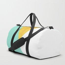 Gold & Aqua Blue Geometry Duffle Bag