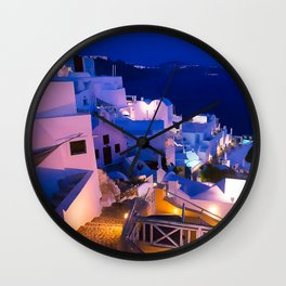 Santorini Sunset III Wall Clock