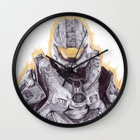 master chief Wall Clocks featuring Halo Master Chief by DeMoose_Art