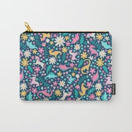 Floral Burst with Dinosaurs + Unicorns in Neon Carry-All Pouch