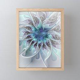 Flourish Abstract, Fantasy Flower Fractal Art Framed Mini Art Print