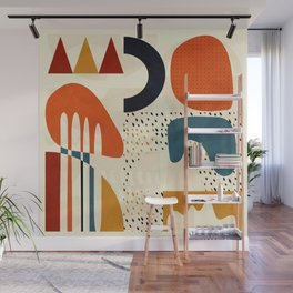 mid century shapes geometric abstract color 1 Wall Mural