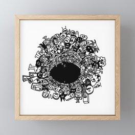 Monsters falling in hole, doodle art Framed Mini Art Print