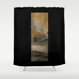 mountain in yellow sky Shower Curtain