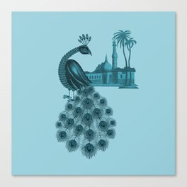 Blue peacock oriental dream Canvas Print