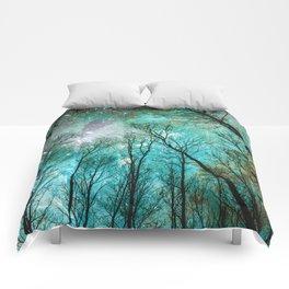 Black Trees Mint Blue Mauve Space Comforters