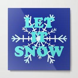 Let It Snow classic winter snowflake pattern Metal Print