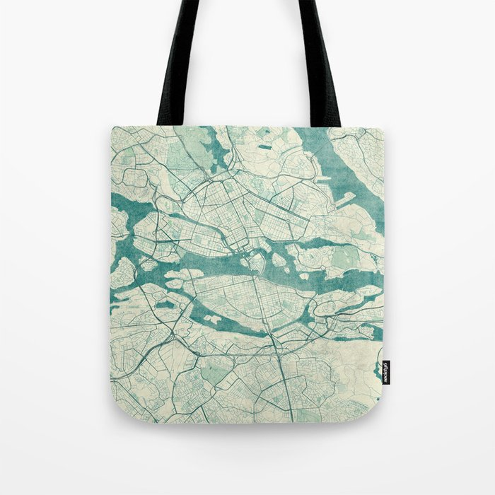 Stockholm Map Blue Vintage Tote Bag