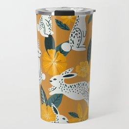 Bunnies & Blooms - Ochre & Teal Palette Travel Mug