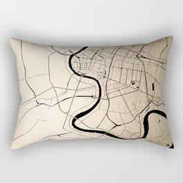 Bangkok Thailand Minimal Street Map - Gold Metallic and Black II Rectangular Pillow