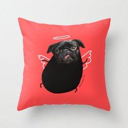 Black Angel Pug Throw Pillow