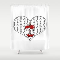 apple Shower Curtains featuring APPLE by ahhh anders