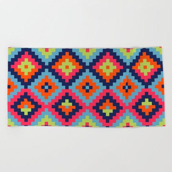 Aztec pattern - blue, green, orange, pink Beach Towel