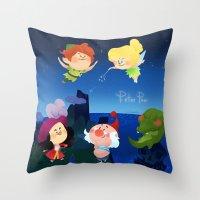peter pan Throw Pillows featuring Peter Pan by UniverseSunny