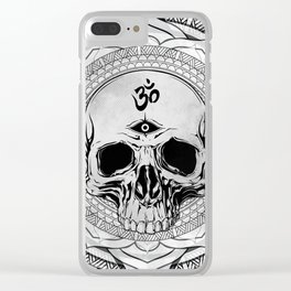Life Touches The Seeker Ajna Skull Mandala Geometric Triangle Black Clear iPhone Case