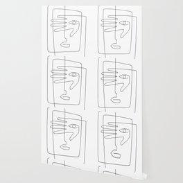 Square Face One Line Art Wallpaper
