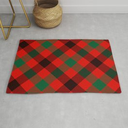 Red Plaid with Diagonal Green and Black Stripes Rug