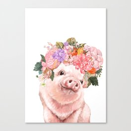 Lovely Baby Pig with Flowers Crown Canvas Print