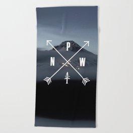 PNW Pacific Northwest Compass - Mt Hood Adventure Beach Towel