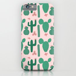 Green Cactus Shapes with Pink Cactus Flowers iPhone Case