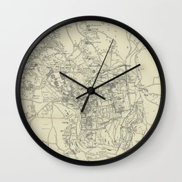 Vintage Map of Jerusalem Israel (1917) Wall Clock