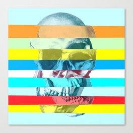 Striped Glitch Skull Canvas Print