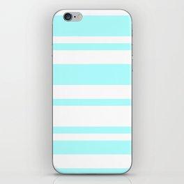 Mixed Horizontal Stripes - White and Celeste Cyan iPhone Skin