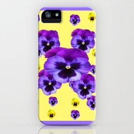 LILAC FRAMED YELLOW & PURPLE PANSY GARDEN FLOWERS iPhone Case