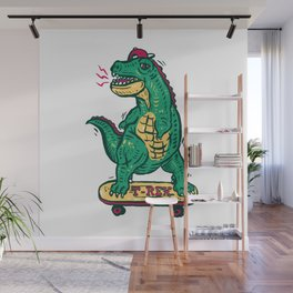 Skateboarding Dinosaur Wall Mural