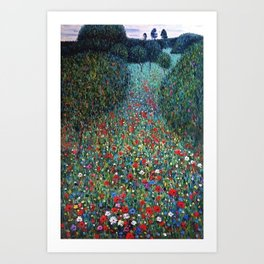 Poppy Fields garden landscape wildflowers floral painting by Gustav Klimt Art Print