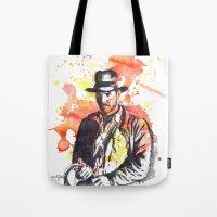 indiana Tote Bags featuring Indiana Jones by idillard