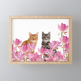 Red and Tiger cat in Lotos Flower Field Framed Mini Art Print