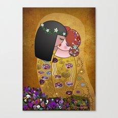 Kokeshis Lesbians The kiss of Klimt Canvas Print