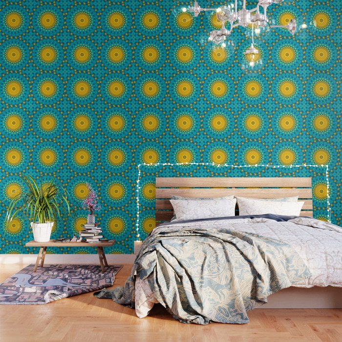 Birds of Paradise Geometric Circle Pattern \\ Tropical Beach House Vibes \\ Green Yellow Blue Colors Wallpaper