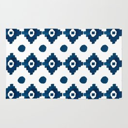 Abstract navy blue watercolor geometrical pattern Rug