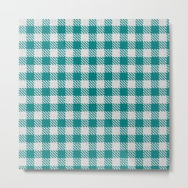 Teal Buffalo Plaid Metal Print