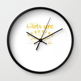 Birthday Celebration Gifts March Girls Are Sunshine With A Little Hurricane Funny Birth Anniversary Wall Clock