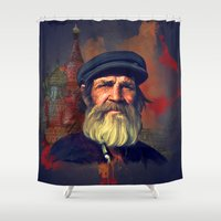 moscow Shower Curtains featuring Leaving Moscow by ivaDima
