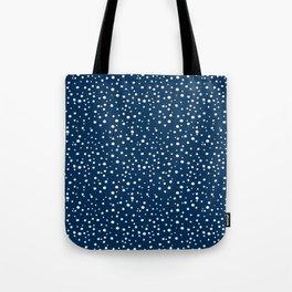 PolkaDots-White on Dark Blue Tote Bag