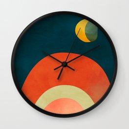mid century geometric abstract autumn 2 Wall Clock