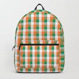 Orange White and Green Irish Gingham Check Plaid Backpack