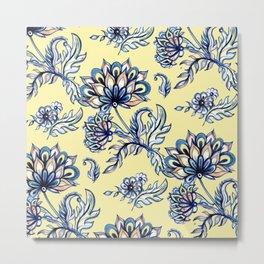 yellow and blue batik Metal Print
