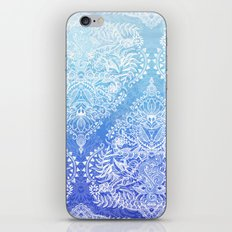 Out of the Blue - White Lace Doodle in Ombre Aqua and Cobalt iPhone & iPod Skin