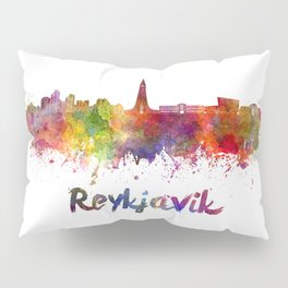 Reykjavik skyline in watercolor Pillow Sham