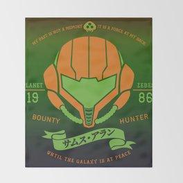 Video Game Gamer Geek Metroid Inspired Orange Armor Space Warrior Throw Blanket