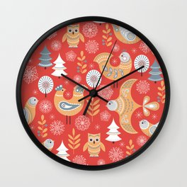 Fairy forest, deer, owls, foxes. Decorative pattern in Scandinavian style on a red background. Folk Wall Clock
