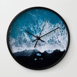Abstract and minimalist black sand beach in Iceland with chunks of Ice and waves - moody Landscapes Wall Clock